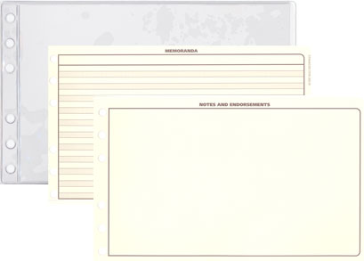 Notes, Endorsement, and Memoranda Pages for Full Size Carry Model Custom Leather Binders for Logbook Pro