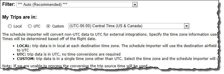 Schedue Importer Timezones
