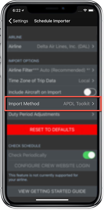 Schedule Importer Settings